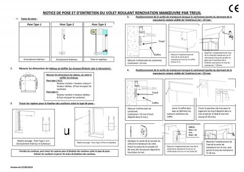 Notice de pose + entretien volet renovation treuil